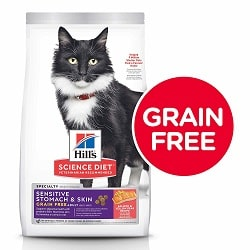 Grain Free Dry Cat Food by Hill's Science Diet, Adult, Sensitive Stomach & Skin, Salmon & Yellow Pea Recipe